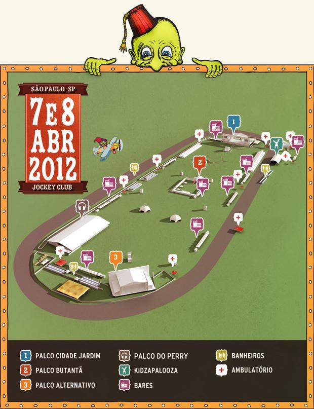 Mapa do Lollapalooza Brasil foi divulgado pelo site oficial do festival, que acontece em abril em São Paulo (Foto: Divulgação)