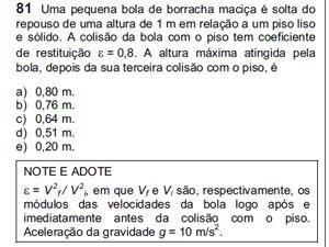 Questão 81 de física apresenta fórmula errada, segundo professor (Foto: Reprodução)