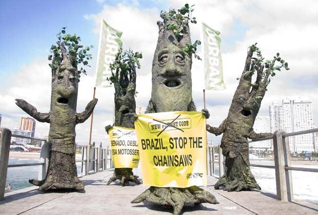 Ativistas do Greenpeace, vestidos de árvores, protestam contra o desmatamento da Amazônia no Brasil, nesta terça-feira (29), na cidade sul-africana de Durban. O protesto ocorre no segundo dia da Conferência do Clima da ONU (Foto: John Robinson, Greenpeace/AP)