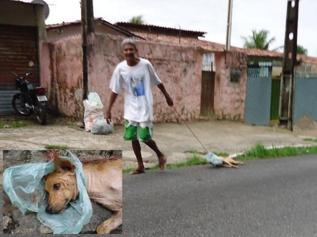 Um cinegrafista amador flagrou um homem arrastando um cachorro pelo asfalto no bairro de Jaguaribe, na capital. O animal que foi arrastado por aproximadamente setecentos metros amarrado a uma corda e com a cabeça enrolada em um saco de plástico, estava ma (Foto: Divulgação/Arquivo Pessoal)