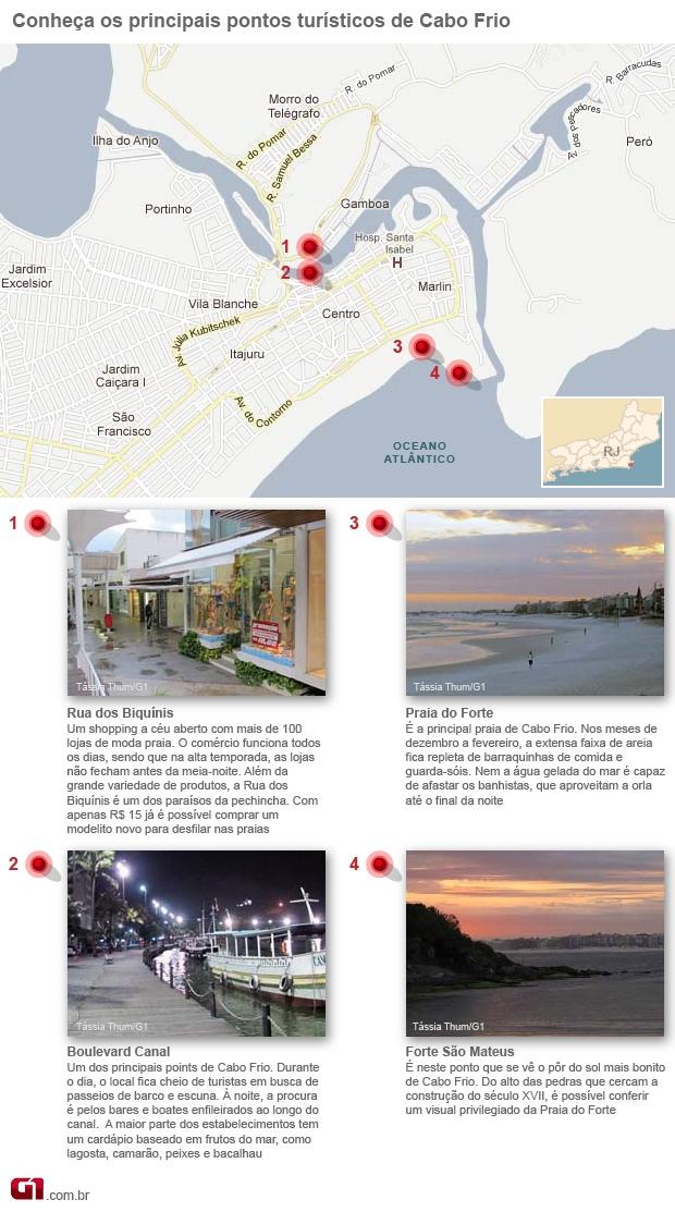 Mapa Cabo Frio (Foto: Arte G1)