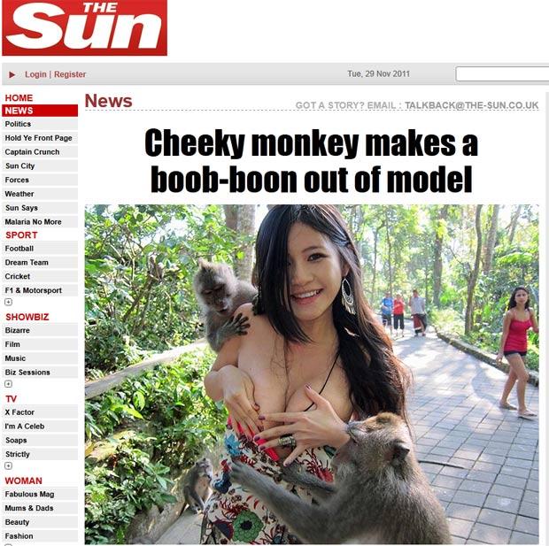 Charmian Chen quase ficou nua ao ser atacada por macacos. (Foto: Reprodução/The Sun)