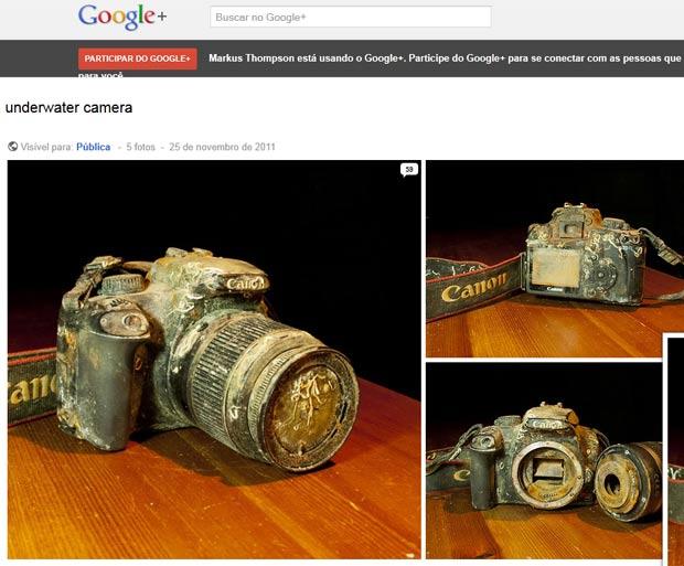 Fotógrafo Markus Thompson usou Google+ para achar dono de câmera encontrada no fundo do mar. (Foto: Reprodução)
