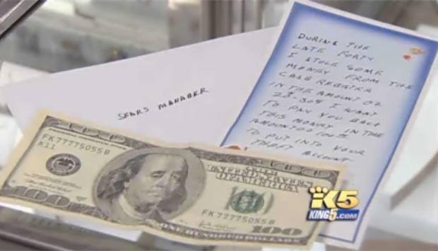 Ladrão arrependido devolveu com juros o dinheiro que havia roubado na década de 40.  (Foto: Reprodução/King 5)
