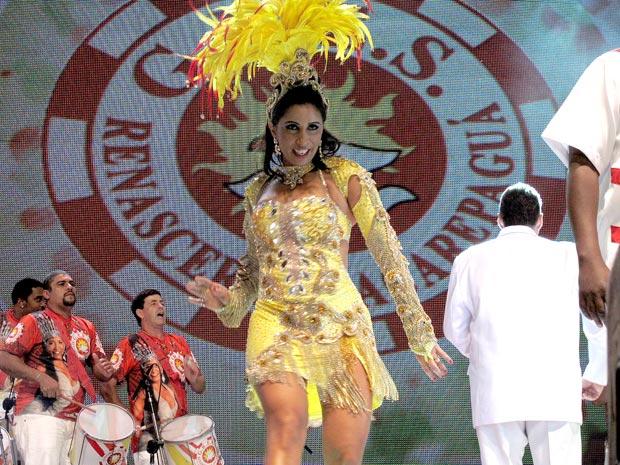 Patrícia participou da gravação dos clipes de carnaval da TV Globo (Foto: Rodrigo Vianna / G1)