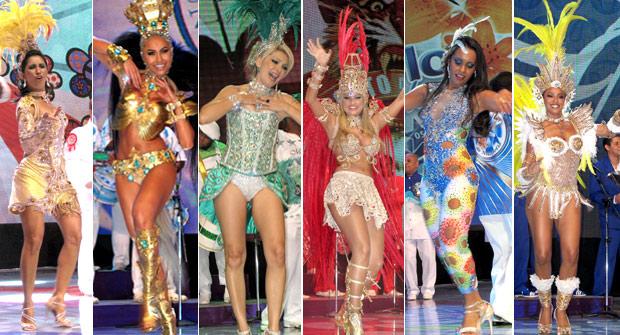 Rainhas de bateria participaram da gravação das vinhetas de carnaval da TV Globo (Foto: Rodrigo Vianna / G1)