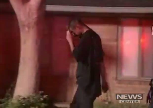 Envergonhado, homem evitou as câmeras de TV. (Foto: Reprodução)