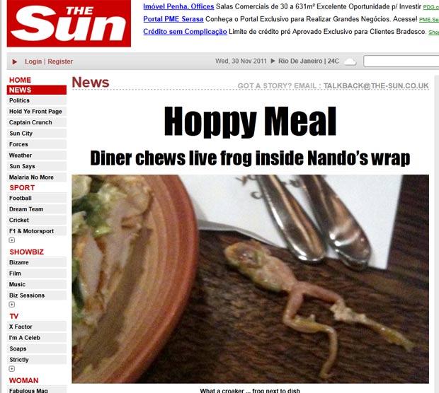 Ross Dance encontrou um sapo vivo em um sanduíche de frango. (Foto: Reprodução/The Sun)