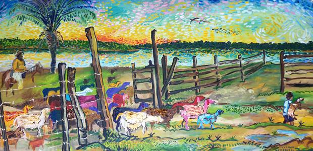 'Vaqueiro levando ovelhas para curral', obra em cartaz na mostra 'Rio Madeira – gigante da floresta' (Foto: Reprodução / Divulgação)