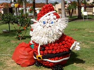 Papai  Noel de material reciclado (Foto: Reprodução/ TV Integração)