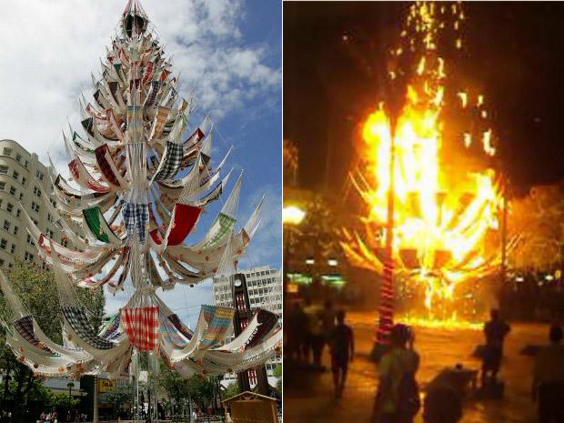 Fotos da árvore antes e depois do incêndio na noite desta quinta-feira (1). Estrutura da árvore foi feita de metal e redes de dormir, feitas de algodão. (Foto: G1 Ceará/ Arte)