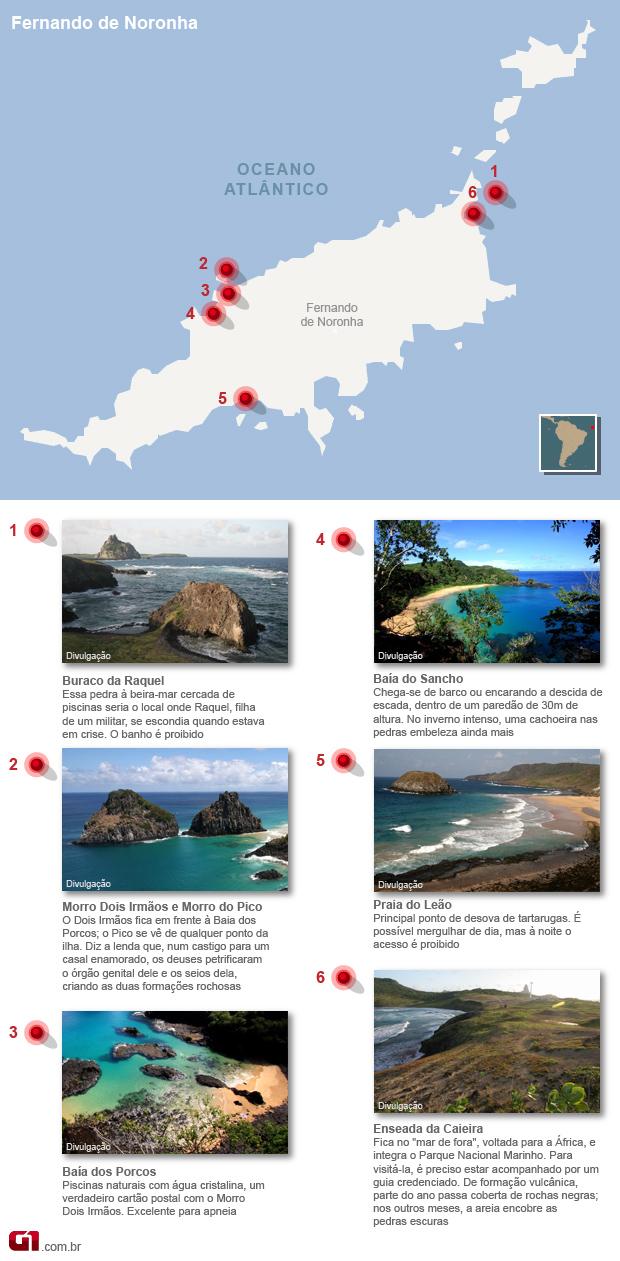 mapa de fernando de noronha turismo pernambuco vale este (Foto: Editoria de Arte/G1)