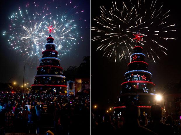 A árvore de Natal do Ibirapuera, na Zona Sul de São Paulo, foi inaugurada na noite deste domingo (4), com um show de fogos de artifício. A iluminação da árvore de 58 metros de altura, que costuma atrair milhares de curiosos no mês de dezembro, conta com mais de 500 lâmpadas e 12 mil metros de mangueiras de LED. A estrutura utiliza materiais reutilizáveis. A árvore ficará montada até 6 de janeiro  (Foto: Bruno Poletti/Frame/AE)