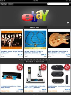 Aplicativo do eBay para o iPad (Foto: Reprodução)