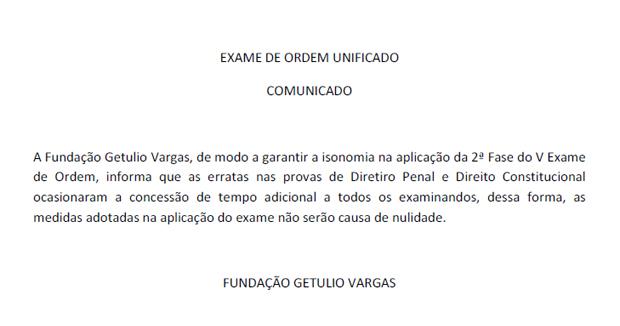 Nota oficial da OAB sobre as erratas nas provas do V Exame de Ordem Unificado da OAB (Foto: Reprodução)