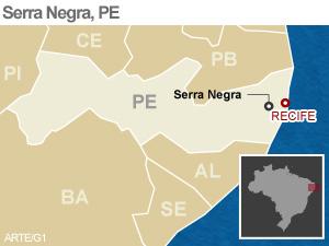 mapa localiza serra negra turismo pe (Foto: Editoria de Arte/G1)