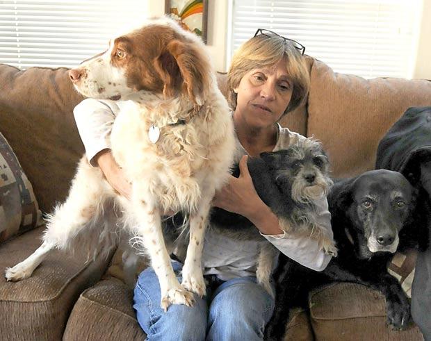 Lynn Jones com seus cães de estimação. (Foto: Marilyn Newton/Reno Gazette-Journal/AP)