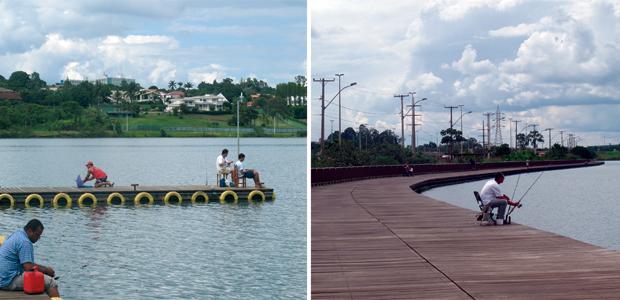 Calçadão da Asa Norte: espaço para crianças, para a prática de esporte e até para pescaria (Foto: G1)