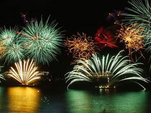 Photo of fireworks of Copacabana Beach in Rio de Janeiro Brazil