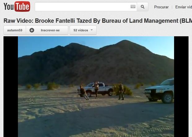 Vìdeo postado no YouTube mostra o momento em que Fantelli é atingida por pistola elétrica (Foto: Reprodução)