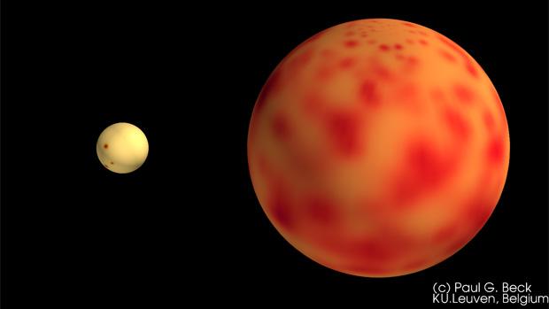 Comparação dos tamanhos do Sol (esquerda) e de uma gigante vermelha (Foto: Paul Beck/KU Leuven)