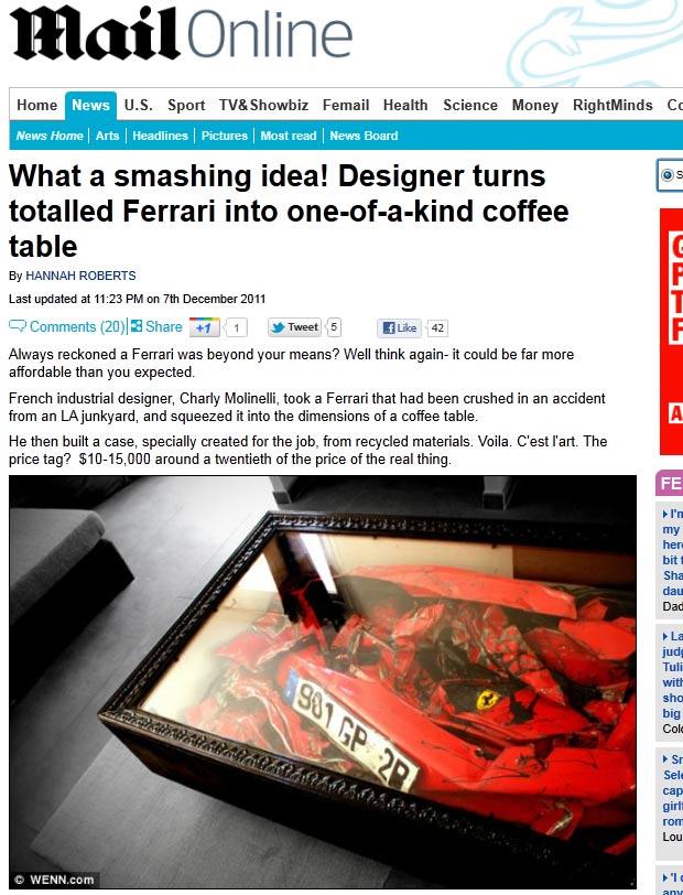 Desiner francês Charly Molinelli transformou uma Ferrari batida em uma mesa de centro. (Foto: Reprodução/Daily Mail)