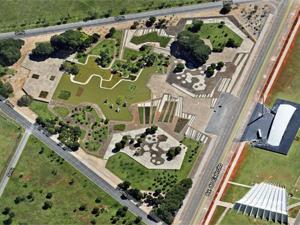 Vista aérea da Praça dos Cristais, no SMU, no DF (Foto: Reprodução)