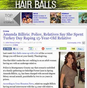 """Reportagem do blog de notícias """"Hair Ball"""", de Houston, traz foto da americana Amanda Billiris (Foto: Reprodução)"""