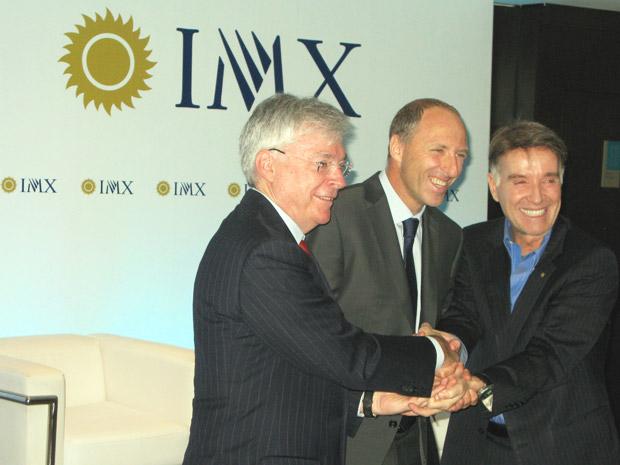 No lançamento da IMX, estavam, da direita para a esquerda, Eike Batista, presidente da EBX, Alan Adler, CEO da IMX, e Michael Dolan, CEO da IMG Worldwide.  (Foto: Bernardo Tabak/G1)