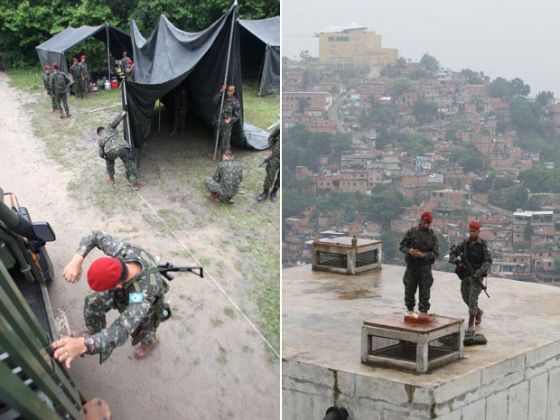 Homens da Brigada Paraquedista começaram a montar acampamento no Alemão nesta sexta-feira (9) (Foto: Tasso Marcelo/ Ag. Estado)