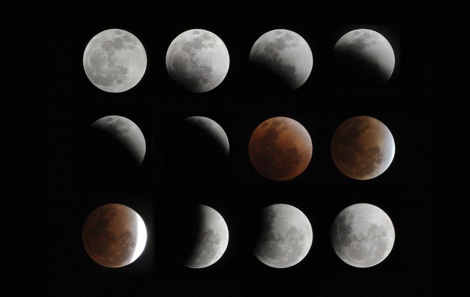 Composição de 12 fotos mostra eclipse total da lua visto em Hefei, na província chinesa de Anhui