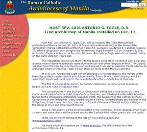 Igreja das Filipinas colocou link errado para acompanhar posse de novo arcebispo (Foto: Reprodução)