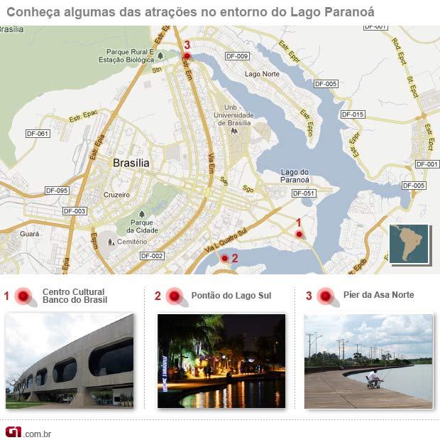 Arte Lago Paranoá (Foto: Editoria de Arte/G1)