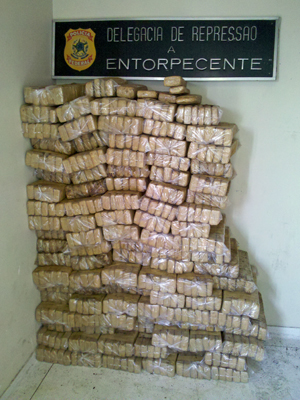 Over 600 kilos of marijuana seized by federal narcotics police in Ososco, Sao Paulo, Brazil on Monday 12 December 2011