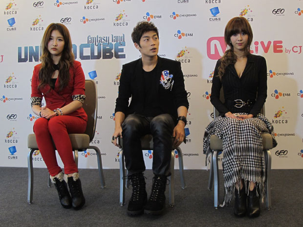 Os músicos Nam Ji Hyun, Yoon Du Jun e G.NA (Foto: Flávio Seixlack/G1)