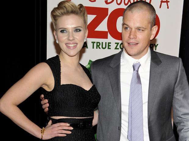Scarlett Johansson e Matt Damon lançam o filme 'Compramos um zoológico' em Nova York nesta segunda-feira (12) (Foto: AP/Evan Agostini)