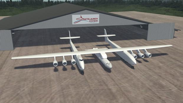 Projeto de avião para viagens espaciais da Stratolaunch (Foto: AFP/Stratolaunch Systems)