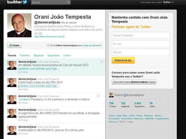 O arcebispo do Rio, Dom Orani Tempesta, informou as datas da visita do Papa através de seu Twitter (Foto: Reprodução/ Twitter)