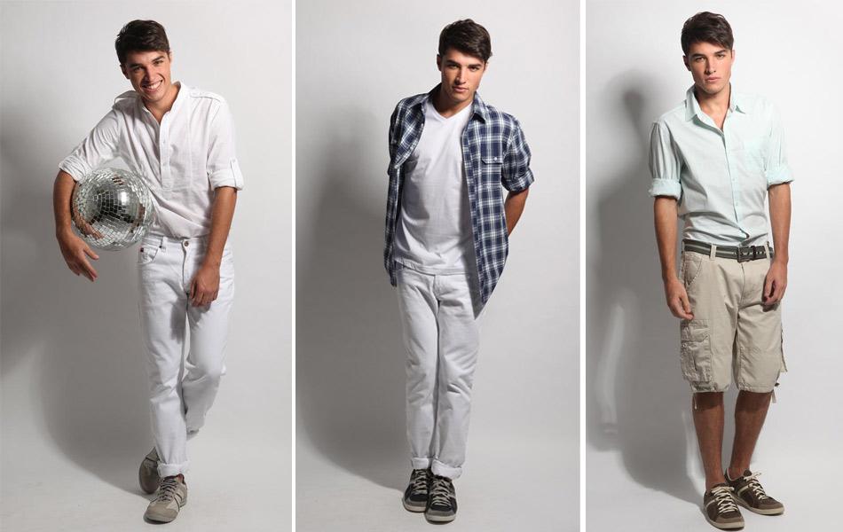 Moda masculina da Opçao Jeans: Primeiro Look (camisa R$ 99,00 e calça R$ 69,90), segundo look (camisa de malha R$ 24,90 e calça R$ 69,90), terceiro look (bermuda R$ 69,90, camisa R$ 99,90)