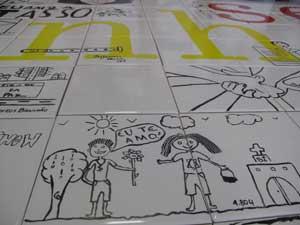 Desenhos mostram mensagem de otimismo (Foto: Carolina Lauriano / G1)