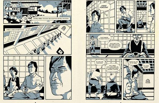Trecho mostra Kobun ensinando Jobs a meditar andando (Foto: Reprodução)