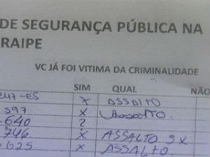Moradores de Jacaraípe organizaram abaixo-assinado contra insegurança (Foto: Reprodução/TV Gazeta)