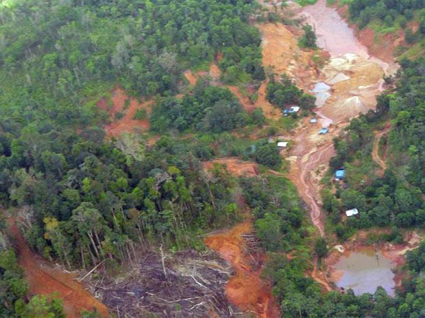 Imagem mostra desmatamento na floresta amazônica no Amapá em razão de garimpos ilegais (Foto: Divulgação/Grayton Toledo/Governo do Amapá)