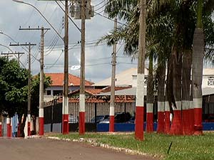 Prédios públicos, palmeiras e postes foram pintados de vermelho e branco (Foto: Reprodução TV Integração)