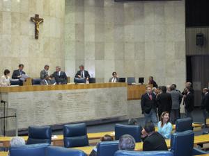 Plenário da Câmara de SP na noite desta sexta-feira (Foto: Roney Domingos/G1)