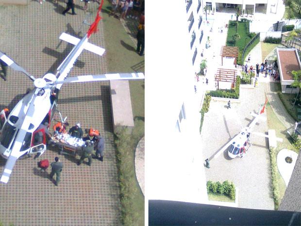 Helicóptero fez o resgate do homem após esfaquear esposa e filho. (Foto: Danilo Casaletti/Divulgação)