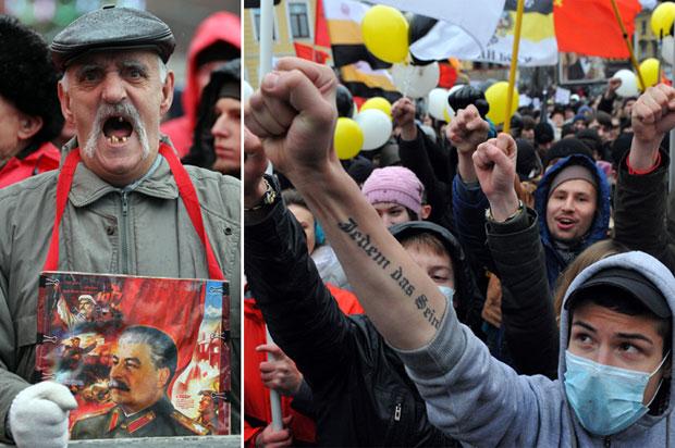 Manifestantes de diversas idades foram às ruas protestar neste domingo (18) na Rússia (Foto: AFP)