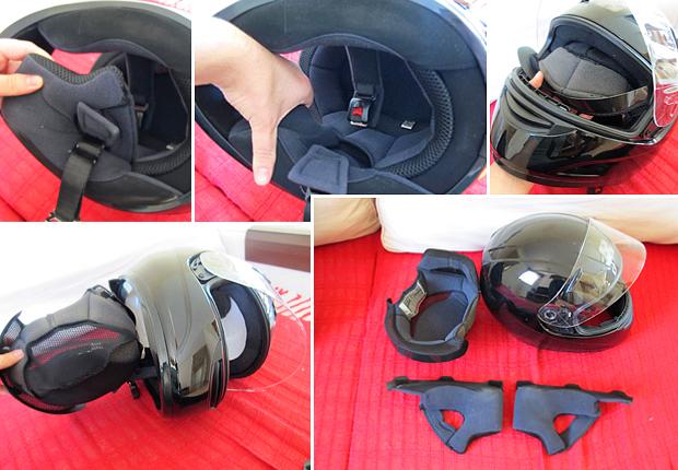 Capacetes com o forro removível facilitam a limpeza (Foto: Rafael Miotto/ G1)