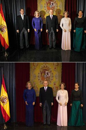 Combinação de fotos mostra a área da realeza do museu cera com e sem a imagem de Inaki Urdangarin (Foto: Andrea Comas/Juan Medina/Reuters)