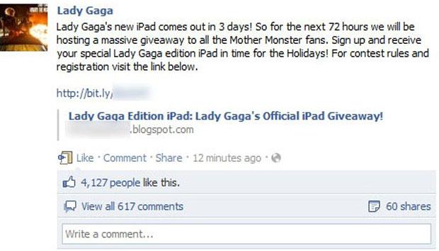 Mensagem publicada por hackers na página da Lady Gaga no Facebook (Foto: Reprodução/Sophos)